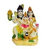 Icrafts India Hinduism God Goddess Shiva Family Statue Shankar Ganesh Parvati Figurine Resin Statue for Car Home Office - Aheli