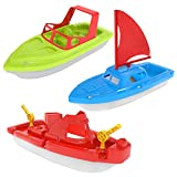 FUN LITTLE TOYS Bath Boat Toy, Pool Toy, 3 PCs Yacht, Speed Boat, Sailing Boat, Aircraft Carrier, Fisher Toy Set for Birthday Party, Baby Gift Toddler Toys