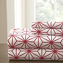 Spirit Linen, Inc Hotel 5th Ave White/Red Twin Hotel 5th Ave Galaxy Collection Sheet Set