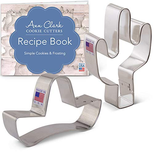 Cinco de Mayo/Mexican Heritage Cookie Cutter Set with Recipe Booklet - 2 piece - Sombrero and Cactus - Ann Clark - USA Made Steel ()