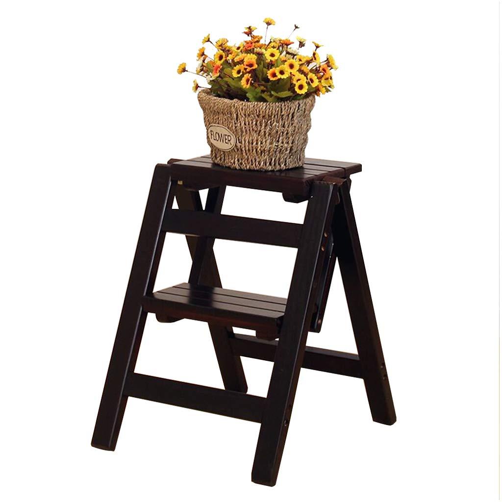 折りたたみ2層純木多目的梯子ステップスツール 木製のはしごスツール階段 ポータブル キッチン/オフィス/図書館脚立 、耐荷重150kg B07QCHCPSH