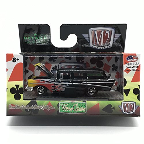 M2 Machines 1957 Chevrolet 210 Beauville Station Wagon (Gloss Black w/Flames) - Wild Cards Release 12 2017 Castline Premium Edition 1:64 Scale Die-Cast Vehicle & Display Case Set (WC12 16-52) ()