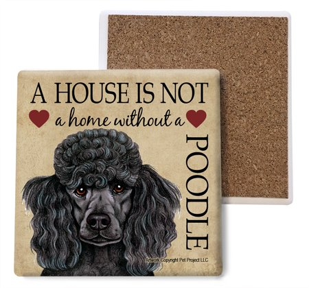 (Poodle (Black) Absorbent Stone Coasters, Set of 4 (SJT24755))
