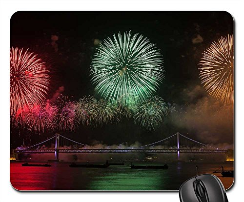 Mouse Pads - Flame Festival Night View The Night Sky Sea Bridge