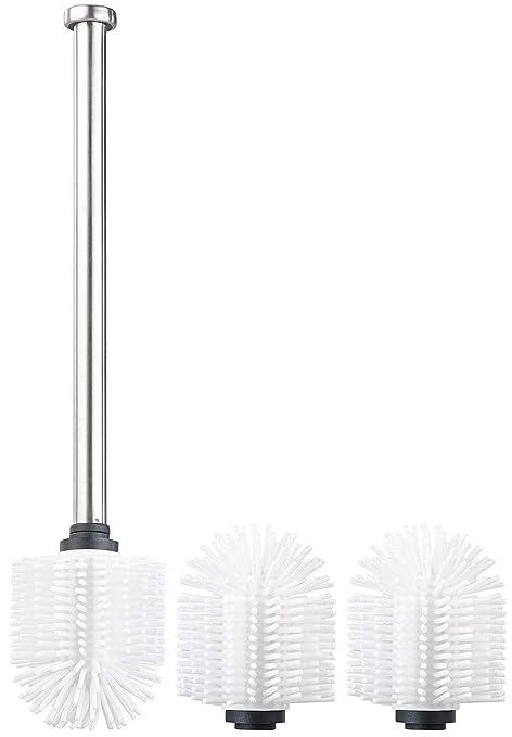 weiß WC-Bürste mit Edelstahl-Stiel und 3 Aufsätzen mit Ø 7 cm WC Garnitur