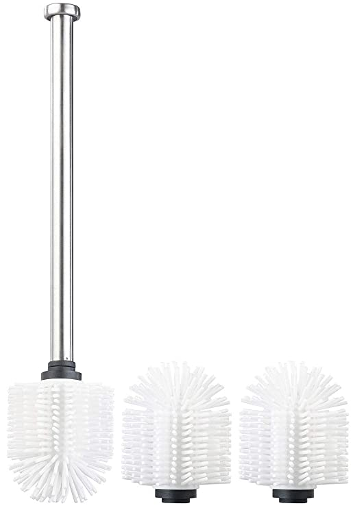 BadeStern Toilettenbürste: WC-Bürste mit Edelstahl-Stiel und 3 Silikon-Aufsätzen, 7 cm Ø, weiß (WC-Bürstenkopf)