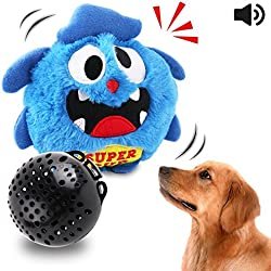 Petbobi Automatic Dog Toys Interactive Plush Giggle Ball Shake Squeak Crazy Bouncer Toys Exercise Electronic Toy for Puppy Motorized Entertainment for Pets Blue