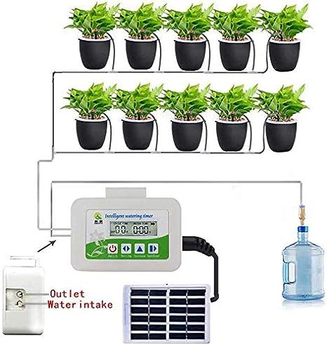FANQIE Sistema de riego automático Kit de Equipo de riego para Vacaciones y Panel Solar para jardín de terrazas de Flores o Plantas en macetas,A: Amazon.es: Hogar