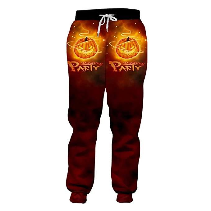 new season how to orders selected material Halloween Creative Man Pants Flame Sweatpants 3D Polyester ...