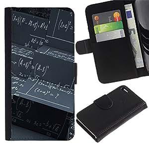 KingStore / Leather Etui en cuir / Apple Iphone 4 / 4S / Matemáticas Junta Negro Fórmula de cálculo Arte