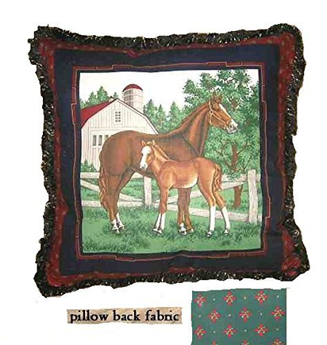 MARE & FOAL w/Fringe Trim Horse Cotton Fabric 17
