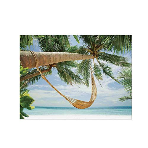 C COABALLA Tropical Heat Resistant Table Mat,View of Nice Hammock with Palms by The Ocean Sandy Shore Exotic Artsy Print Decorative for Dining,15.7