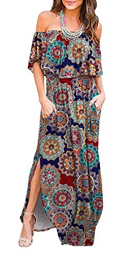LILBETTER Womens Floral Off The Shoulder Ruffle Pockets Casual Dress Side Split Beach Maxi Dresses (RF Navy Blue, L)