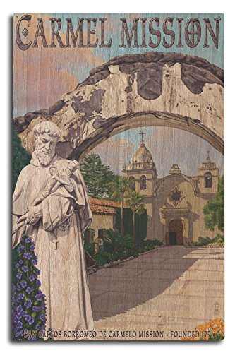 Lantern Press Carmel Mission, California (10x15 Wood Wall Sign, Wall Decor Ready to Hang)