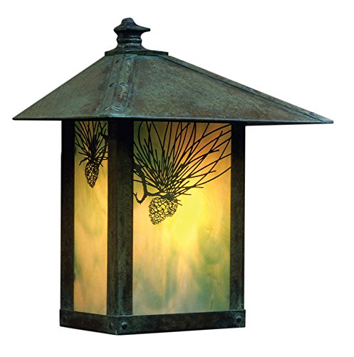 Arroyo Craftsman Evergreen Flush Wall Mount with T-Bar Overlay Verdigris Patina Metal Finish, Rain Mist Glass, 16