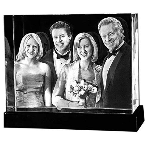 Personalized Custom 3D Holographic Photo Etched Engraved Inside The Crystal with Your Own Picture XL (Birthday, Wedding Gift, Memorial, Mother's Day,Valentine's,Christmas)