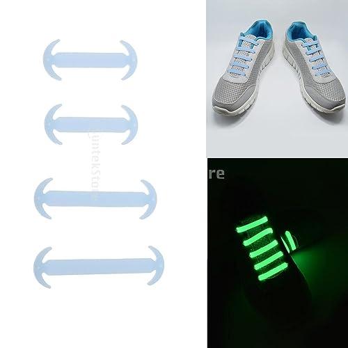 Prettyia 14 Pedazos Ningún Lazo Luminoso Cordones de Zapatillas de Silicón Elástica - Azul: Amazon.es: Zapatos y complementos