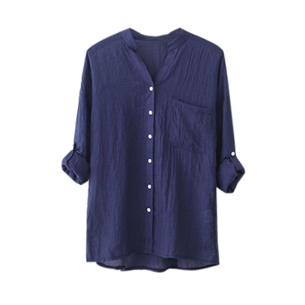 89e1cb319b Top2  Hatoys Women Casual Cotton Solid Long Sleeve Loose Button Down Shirt  Tops Blouse