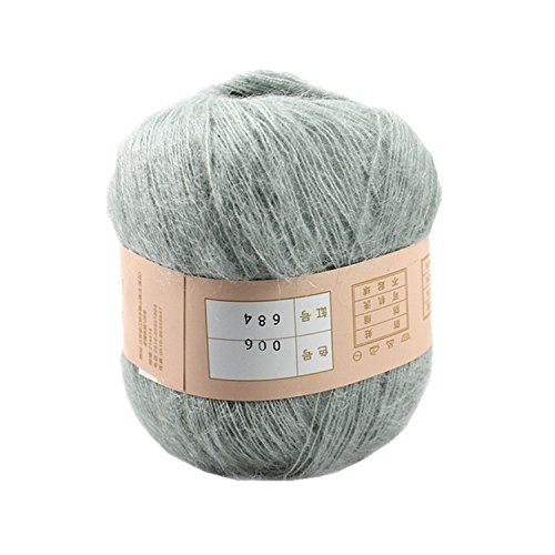 Celine lin One Skein Soft&Warm Angola Mohair Cashmere Wool Knitting Yarn 50g,Light Grey