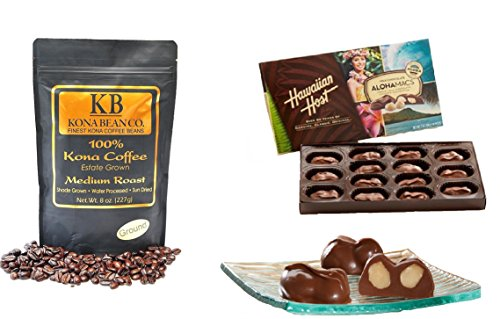 Kona Coffee & Hawaiian Host Gourmet Coffee Chocolate Gift set 100% Kona Coffee Dark & Medium Roast Coffee Whole Bean & Ground Alohamacs Silky Milk Chocolate Macadamia Nuts (Medium Roast, Ground)
