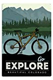 Lantern Press Colorado - Go Explore - Bike (12x18 Aluminum Wall Sign, Wall Decor Ready to Hang)