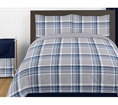 Rustic Navy Blue and Gray Boys 4 Piece Kids Teen Plaid Twin Bedding Set Collection
