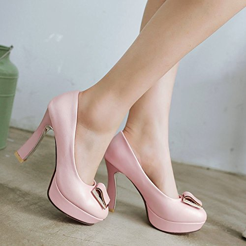 Mee Shoes Damen modern süß Geschlossen speziell Heel Metall-Dekoration Strass runder toe Plateau Pumps Pink