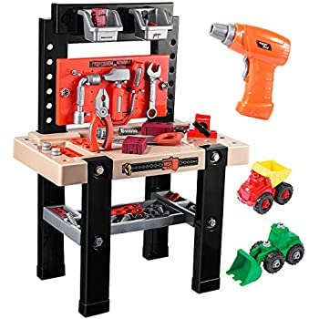 Amazon Com Ibasetoy Toy Tool Bench Kids Power Workbench