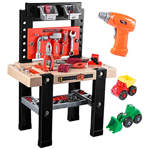 iBaseToy Toy Tool Bench, Kids Power Workbench, 91Piece Construction Toy Bench Set with Electric Drill, Educational Play & Pretend Play Workbench for - Work Set