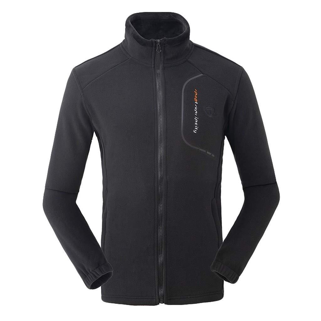 Briskorry Men Women Winter Sports Coat Outdoor Thicken Coral Fleece Stand Collar Jacket Casual Full-Zip Soft Outwear Black by Briskorry