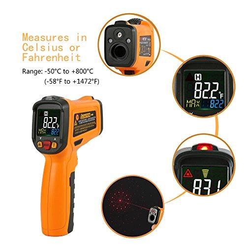 Thermomètre Infrarouge Temperature Laser Janisa AD6530B Cuisine Interieur Mesure Temperature -50℃ à 800℃ Sans Contact Avec 12 Points Aperture Fonction Température Alarme Rapid Sight Lire Grand Ecran LCD I good