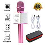 Generic Portable Magic Karaoke Wireless Handheld Microphone Bluetooth Speaker Player Recorder For Apple iPhone Android Smartphone PC Music Playing Singing Home KTV (Q9 Pink)