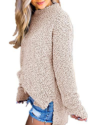 Imily Bela Womens Fuzzy Knitted Sweater Sherpa Fleece Side Slit Full Sleeve Jumper Outwears Khaki ()