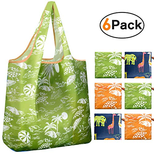 REGER Foldable Shopping Grocery Bags Reusable & Machine Washable (Medium Size) for Environmental Protection (Pattern 02…