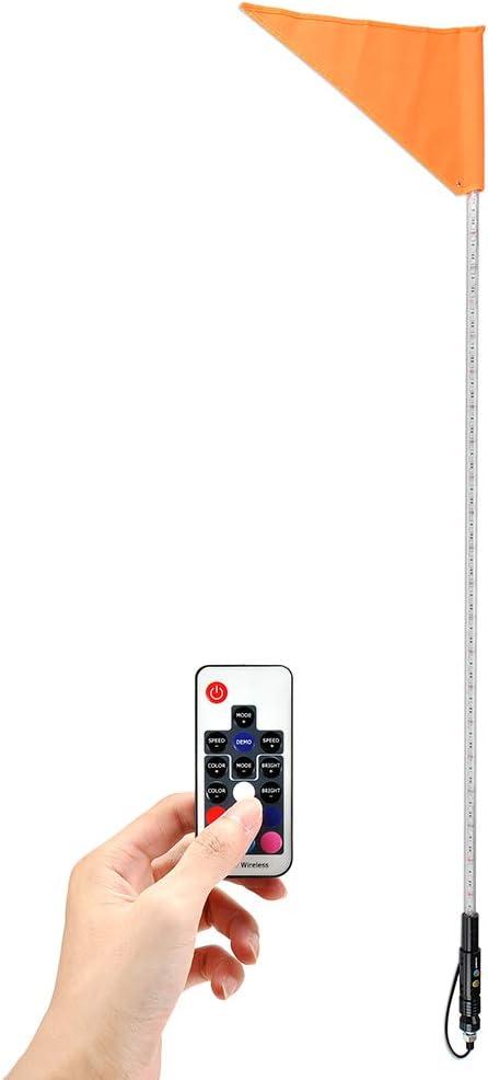 5ft Lighted Antenna RGB LED Whip Light Flag for ATV UTV Polaris RZR 4 Wheel 2PCS