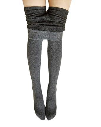 1bd0698cd5b Femme Leggings Collant En Laine Triplure Doux Haute Taille Elastiques Hiver  Chaud Leggings Gris One size  Amazon.fr  Vêtements et accessoires
