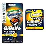 Gillette Fusion ProGlide Power Men's Razor with FlexBall Handle Technology + 8 Count Gillette Fusion ProShield Men's Razor Blade Refills