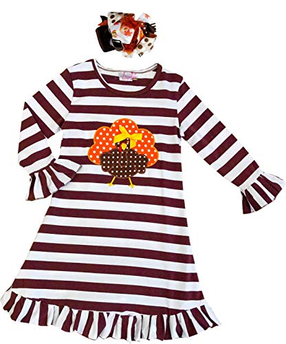 AMK Toddler Little Girls Thanksgiving Turkey Dress with Bow Brown Stripes 7/2XL