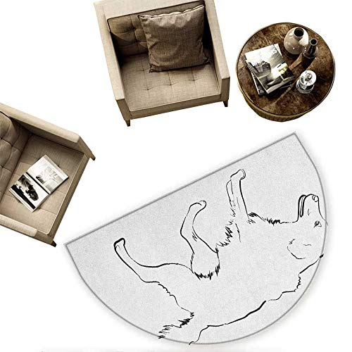 Golden Retriever Semicircular Cushion Sketch Art Outline of a Dog Thoroughbred Furry Canine Pet Animal Entry Door Mat H 59'' xD 88.6'' Black and White