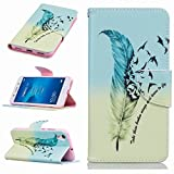 Yiizy Huawei Honor 5A / Huawei Y6 II Case, Feather Design Premium PU Leather Slim Flip Wallet Case Bumper Protective Shell Pouch with Media Kickstand Card Slots