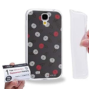 Case88 [Samsung Galaxy S4] Gel TPU Carcasa/Funda & Tarjeta de garantía - Art Drawing Fashion Black Floral Theme 1351
