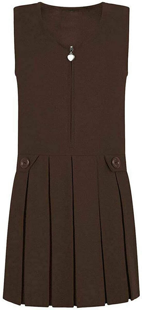 THREADWEAR Girls School Uniform Box Pleat Pinafore