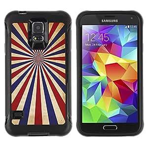 CASSO Cases / Samsung Galaxy S5 SM-G900 / PSYCHEDELIC BLUE RED STRIPES / Robusto Prueba de choques Caso Billetera cubierta Shell Armor Funda Case Cover Slim Armor