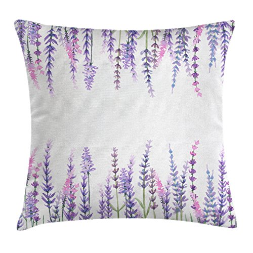 Ambesonne Purple Throw Pillow Cushion Cover, Lavender Plants Aromatic Evergreen Shrub of Mint Family Nature Oil Country Style Print, Decorative Square Accent Pillow Case, 18 X 18 Inches, Lilac
