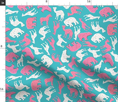 - Animal Crackers Fabric - Cookies Sprinkles Kawaii by Heidikenney Printed on Petal Signature Cotton Fabric by The Yard