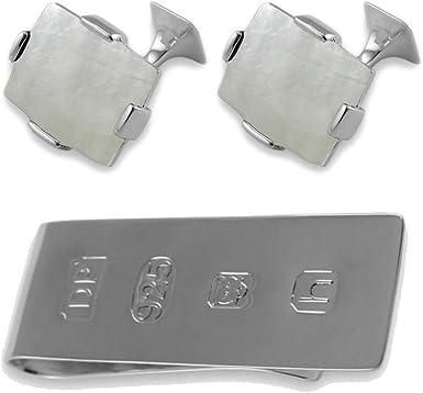 Box Set James Bond Money Clip Silver White Mother Pearl Rectangular Cufflink