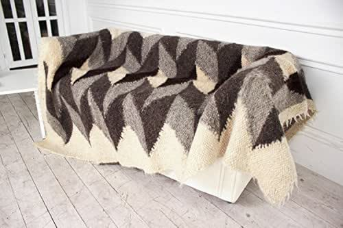 Gray Wool Blanket Hand-made Geometric Pattern Natural Home Decor