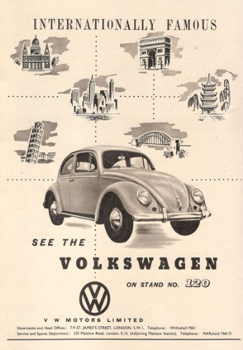 AD83 Vintage Volkswagen Beetle Motor Show Car Advertisement Poster - A3 (432 x 305mm) 16.5