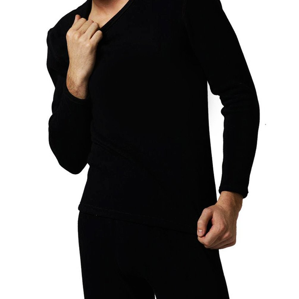Schonfeld Men's Thermal Underwear Set with Top and Bottom Black (X-Large)