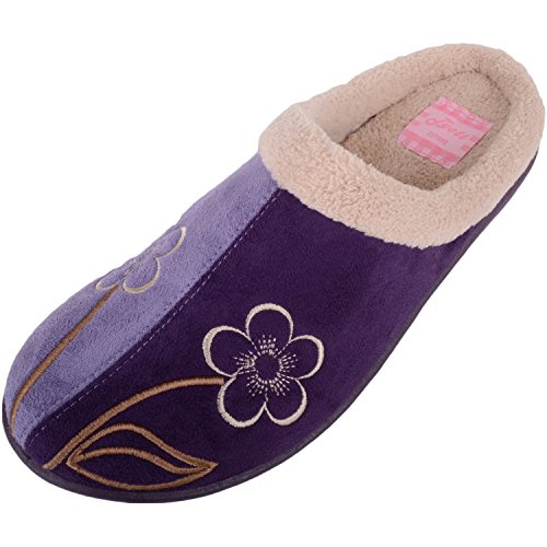Absolute Footwear Womens Faux Suede Mules/Slippers/Indoor Shoes With Floral Design Purple